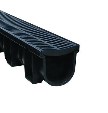 Drainage Channel & Grate Black 138w x 137h x 1m